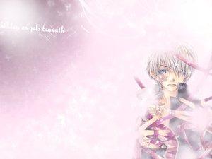 Rating: Safe Score: 6 Tags: all_male blue_eyes male pink ribbons short_hair white_hair User: Oyashiro-sama