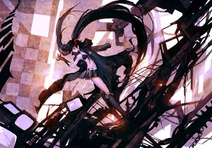 Rating: Safe Score: 81 Tags: black_hair black_rock_shooter cape chain kklaji008 long_hair skirt twintails User: FormX