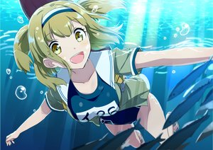 Rating: Safe Score: 76 Tags: animal blonde_hair breasts fish gochou_(comedia80) headband i-26_(kancolle) kantai_collection school_swimsuit short_hair swimsuit twintails underwater water yellow_eyes User: otaku_emmy