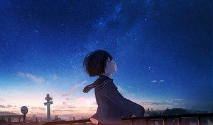Rating: Safe Score: 42 Tags: building city mifuru original scenic school_uniform short_hair stars sunset User: RyuZU