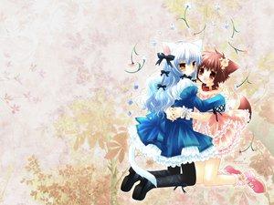 Rating: Safe Score: 29 Tags: 2girls animal_ears catgirl doggirl hinata_(pure_pure) pure_pure sakurazawa_izumi tagme_(character) tail User: 秀悟