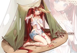 Rating: Safe Score: 74 Tags: barefoot blue_eyes blush clouble hat logo long_hair red_hair red:_pride_of_eden shorts tagme_(character) tears zoom_layer User: BattlequeenYume