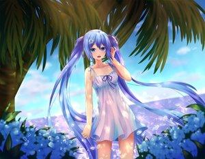Rating: Safe Score: 81 Tags: aqua_eyes aqua_hair dress hatsune_miku long_hair summer_dress twintails vocaloid User: luckyluna