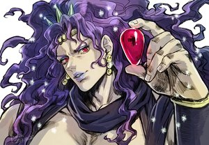 Rating: Safe Score: 1 Tags: all_male headdress horns jojo_no_kimyou_na_bouken kars_(jojo) long_hair male purin_p purple_hair red_eyes scarf signed sketch waifu2x User: otaku_emmy