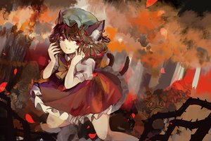 Rating: Safe Score: 14 Tags: brown_hair catgirl chen elise_(piclic) hat multiple_tails petals red_eyes short_hair tail touhou User: RyuZU