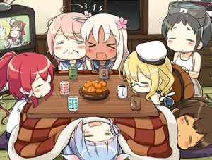 Rating: Safe Score: 23 Tags: anthropomorphism black_hair blonde_hair blue_hair blush brown_hair dark_skin drink engiyoshi food fruit goggles group i-168_(kancolle) i-19_(kancolle) i-401_(kancolle) i-58_(kancolle) i-8_(kancolle) kantai_collection kotatsu long_hair mamiya_(kancolle) maru-yu_(kancolle) night orange_(fruit) pink_hair ponytail red_hair ro-500_(kancolle) seifuku short_hair sleeping swimsuit white_hair User: otaku_emmy