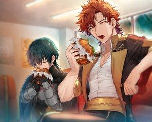 Rating: Safe Score: 9 Tags: all_male armor byleth_(male) cropped fire_emblem food gloves green_hair male none_(kameko227) orange_eyes orange_hair shirt short_hair sylvain_jose_gautier User: mattiasc02