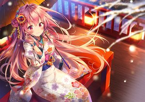 Rating: Safe Score: 106 Tags: blush gloves japanese_clothes kimono long_hair night original pink_hair red_eyes riichu snow umbrella waifu2x User: otaku_emmy