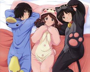 Rating: Safe Score: 122 Tags: amagami black_hair brown_hair nakata_sae nanasaki_ai pajamas tachibana_miya wink User: Wiresetc