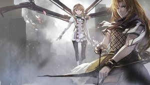 Rating: Safe Score: 71 Tags: 2girls blonde_hair bow_(weapon) brown_hair chiron fate/apocrypha fate_(series) fiore_forvedge_yggdmillennia long_hair swd3e2 weapon wristwear User: Flandre93