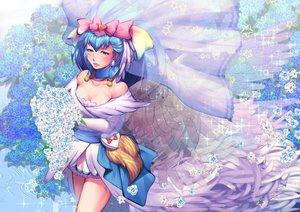 Rating: Safe Score: 19 Tags: aqua_eyes aqua_hair breasts cleavage flowers harihisa hugtto_precure precure wedding_attire wings yakushiji_saaya User: FormX