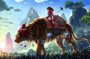Rating: Safe Score: 243 Tags: animal boots cape flowers grass kankurou kneehighs landscape original ribbons scenic sky tiger tree weapon User: gnarf1975