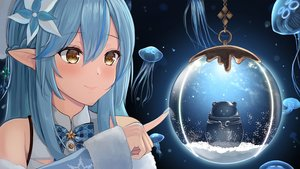 Rating: Safe Score: 20 Tags: animal blue_hair bow braids close hololive pointed_ears shaketarako snow yellow_eyes yukihana_lamy User: mattiasc02