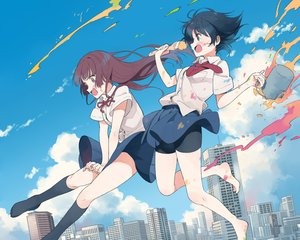Rating: Safe Score: 38 Tags: barefoot black_hair bloomers blue_eyes brown_hair building city clouds cropped kneehighs long_hair nirareba original ribbons school_uniform short_hair skirt sky tie User: mattiasc02