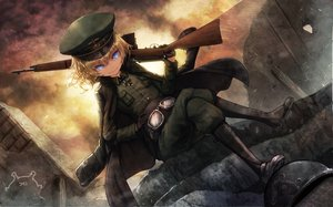 Rating: Safe Score: 40 Tags: blonde_hair blue_eyes boots cape cross gloves goggles gun loli military namacotan ruins short_hair sky sunset tanya_degurechaff uniform weapon youjo_senki User: BattlequeenYume