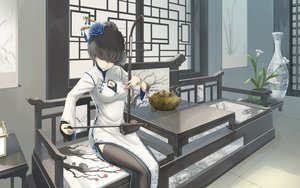 Rating: Safe Score: 28 Tags: black_hair breasts chinese_clothes chinese_dress cleavage flowers instrument kikivi original short_hair thighhighs User: SciFi