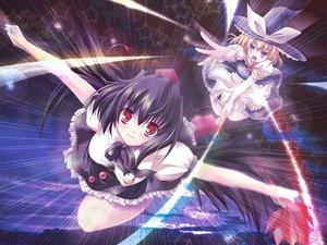 Rating: Safe Score: 15 Tags: 2girls kirisame_marisa magic shameimaru_aya stars touhou witch User: Koala-Chan