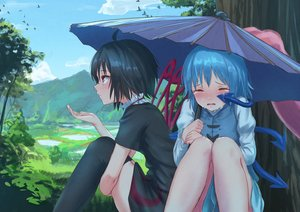 Rating: Safe Score: 45 Tags: 2girls animal bird black_hair blue_hair clouds grass houjuu_nue landscape red_eyes roke_(taikodon) scenic short_hair sky tatara_kogasa tears thighhighs touhou tree umbrella wings User: RyuZU
