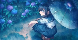 Rating: Safe Score: 30 Tags: aliasing black_hair flowers green_eyes original rain school_uniform shichigatsu short_hair skirt umbrella water User: BattlequeenYume