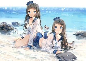 Rating: Safe Score: 259 Tags: 2girls animal anmi aqua_eyes bird breasts brown_hair cleavage hat long_hair original seifuku twins water User: luckyluna