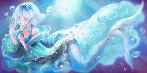 Rating: Safe Score: 87 Tags: animal_ears aqua_eyes aqua_hair breasts bubbles cleavage mermaid necklace short_hair sunday_haruko touhou underwater wakasagihime water User: mattiasc02