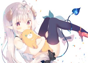 Rating: Safe Score: 87 Tags: blush demon gray_hair horns loli long_hair original pointed_ears red_eyes tail teddy_bear thighhighs waifu2x yuizaki_kazuya User: sadodere-chan