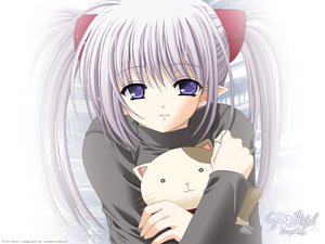 Rating: Safe Score: 21 Tags: animal cat long_hair nishimata_aoi pointed_ears primula purple_eyes purple_hair shuffle twintails User: Oyashiro-sama