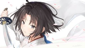 Rating: Safe Score: 48 Tags: al_mican black_eyes black_hair close fate/grand_order fate_(series) japanese_clothes kara_no_kyoukai katana kimono long_hair petals ryougi_shiki short_hair signed sword weapon User: RyuZU