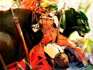 Rating: Safe Score: 114 Tags: animal dress glasses katana so-bin sword thighhighs umbrella weapon User: BoobMaster