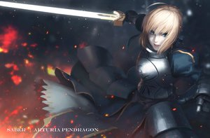 Rating: Safe Score: 12 Tags: armor blonde_hair blue_eyes dress fate_(series) fate/stay_night gloves saber sai_foubalana short_hair sword weapon User: RyuZU