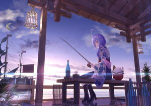 Rating: Safe Score: 58 Tags: akausuko brown_eyes clouds drink hololive japanese_clothes moon pointed_ears ponytail purple_hair reflection sky water yukihana_lamy User: BattlequeenYume