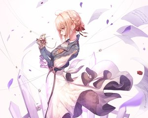 Rating: Safe Score: 123 Tags: aliasing blonde_hair braids cropped paper petals purple_eyes ribbons seol short_hair techgirl violet_evergarden violet_evergarden_(character) User: RyuZU
