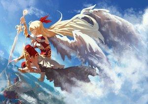 Rating: Safe Score: 143 Tags: armor blonde_hair kuroduki long_hair monster_strike skirt sky sword thighhighs weapon wings User: Flandre93