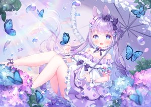Rating: Safe Score: 118 Tags: animal_ears aqua_eyes bow bunny_ears butterfly flowers lolita_fashion long_hair omochi_monaka original purple_hair rainbow twintails umbrella water User: BattlequeenYume