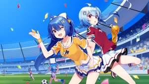 Rating: Safe Score: 50 Tags: 2girls ball bili_bili_douga bili_girl_22 bili_girl_33 sharlorc soccer sport uniform User: RyuZU