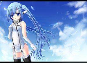 Rating: Safe Score: 154 Tags: blue_eyes blue_hair blush clouds feathers nymph sky sora_no_otoshimono usashouya User: Zolxys
