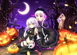 Rating: Safe Score: 57 Tags: blonde_hair bow braids candy doll dress elbow_gloves fate/apocrypha fate/extra fate/grand_order fate_(series) food gloves goth-loli green_eyes halloween hat ibaraki_douji_(fate) jack_the_ripper lolita_fashion lollipop long_hair moon night nursery_rhyme_(fate/extra) pink_eyes ponytail pumpkin short_hair sky tagme_(artist) tattoo thighhighs tree white_hair yellow_eyes User: BattlequeenYume
