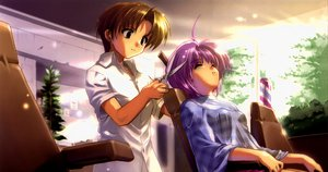 Rating: Safe Score: 22 Tags: asaba_naoyuki brown_eyes brown_hair iriya_kana iriya_no_sora_ufo_no_natsu jpeg_artifacts komatsu_eiji purple_hair third-party_edit User: Dust