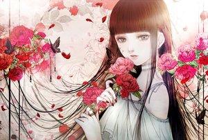 Rating: Safe Score: 33 Tags: black_hair butterfly choker flowers long_hair original petals polychromatic rose satsuki_kei User: FormX