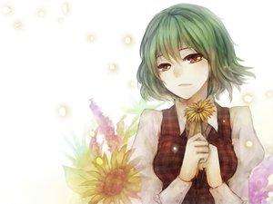 Rating: Safe Score: 34 Tags: close flowers geoly green_hair kazami_yuuka red_eyes short_hair sunflower touhou User: HawthorneKitty
