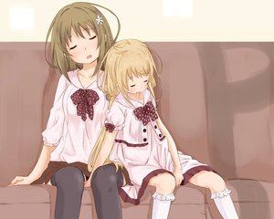 Rating: Safe Score: 70 Tags: 2girls abe_kanari futaba_anzu idolmaster idolmaster_cinderella_girls mimura_kanako sleeping thighhighs User: Wiresetc