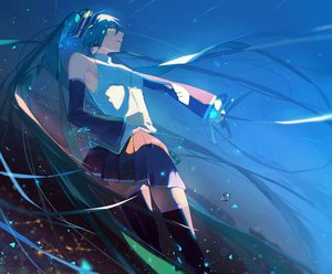 Rating: Safe Score: 20 Tags: agyou_sonokou_l aqua_eyes aqua_hair hatsune_miku long_hair sky stars twintails vocaloid User: FormX