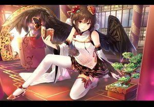 Rating: Safe Score: 273 Tags: book brown_hair butterfly cibo_(killy) headdress red_eyes shameimaru_aya skirt thighhighs touhou tree wings User: daggers