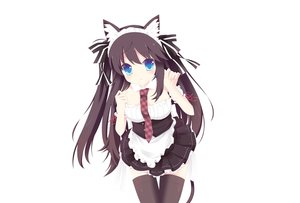 Rating: Safe Score: 44 Tags: animal_ears black_hair blue_eyes catgirl collar headband long_hair maid original photoshop tagme_(artist) tail thighhighs tie white User: luckyluna
