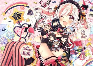 Rating: Safe Score: 28 Tags: bow chibi group horns knives_out navel sakura_oriko tagme_(character) thighhighs twintails white_hair User: mattiasc02