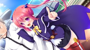 Rating: Safe Score: 52 Tags: bow cape game_cg hhg_megami_no_shuuen nanase_meruchi ophelia_lancaster purple_eyes red_hair thighhighs twintails windmill_(company) User: Maboroshi