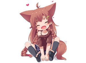 Rating: Safe Score: 32 Tags: animal_ears blush braids brown_hair fang foxgirl loli long_hair makuran_(m-kun) momiji_(marukan) original skirt tail thighhighs white User: luckyluna