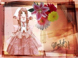 Rating: Safe Score: 13 Tags: brown_hair dress flowers green_eyes long_hair User: Oyashiro-sama
