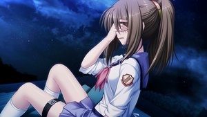 Rating: Safe Score: 57 Tags: angel_beats! brown_hair crying game_cg hisako long_hair na-ga night ponytail seifuku shirt skirt socks stars tears User: RyuZU