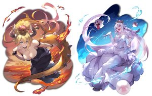 Rating: Safe Score: 6 Tags: 2girls blonde_hair boo bowsette breasts choker cleavage crown dress elbow_gloves fang fire genderswap gloves horns kakage long_hair pointed_ears ponytail princess_king_boo red_eyes super_mario_bros tail white_hair wristwear User: otaku_emmy